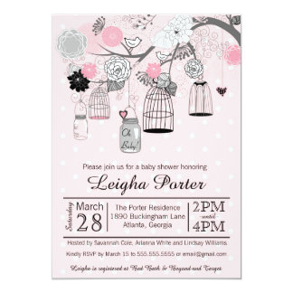 Pink Black Grey Bird Cages & Jars Girl Baby Shower 5x7 Paper Invitation Card