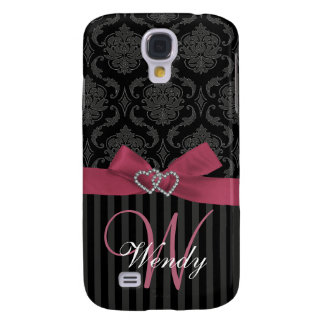 Pink, Black, Grey Damask Stripes Initial HTC Case