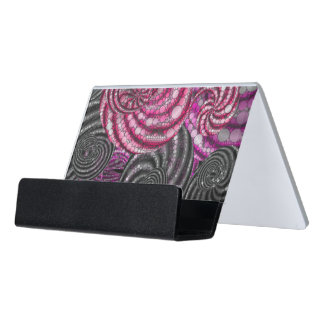 Pink Black Grey Twirly Abstract Desk Business Card Holder