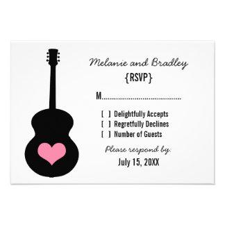 Pink/Black Guitar Heart Response Card