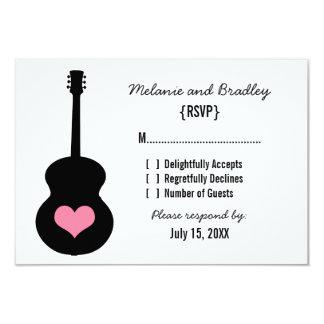 "Pink/Black Guitar Heart Response Card 3.5"" X 5"" Invitation Card"