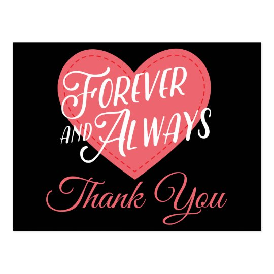 Pink & Black Heart Thank You Wedding Bridal Shower Postcard