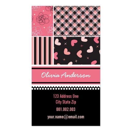 Pink Black Hearts Checks Stripes Plaid Pattern Business Card