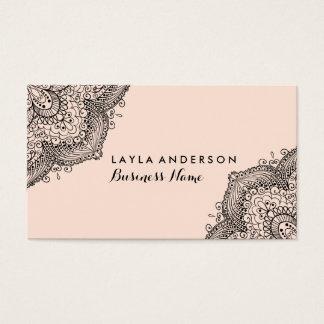 Pink & Black Henna Design Business Cards