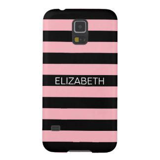 Pink Black Horiz Preppy Stripe Name Monogram Galaxy S5 Case