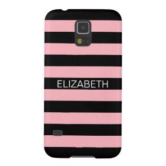 Pink Black Horiz Preppy Stripe Name Monogram Galaxy S5 Cover