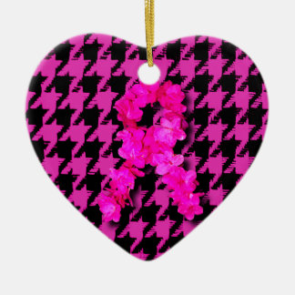 Pink/Black Houndstooth With Flower Ribbon Ceramic Heart Decoration