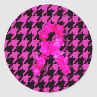 Pink/Black Houndstooth With Flower Ribbon Stickers