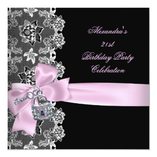 Pink Black Lace Floral Birthday Party Key Lock Card