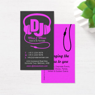 Pink & black ladies DJ promoter business card