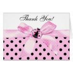 Pink Black Ladybug Thank You Cards
