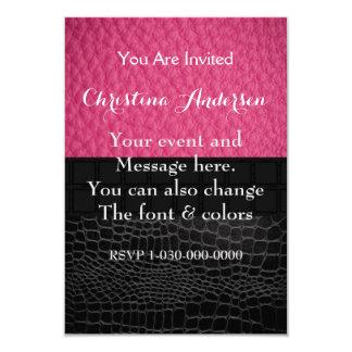 Pink Black Leather 9 Cm X 13 Cm Invitation Card