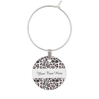 Pink Black Leopard Animal Print Pattern Wine Glass Charms