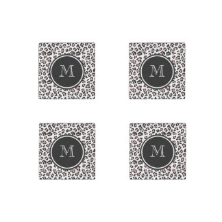 Pink Black Leopard Animal Print with Monogram Stone Magnet