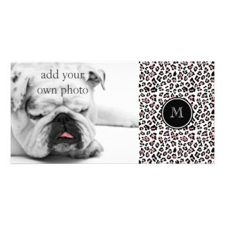 Pink Black Leopard Animal Print with Monogram Personalized Photo Card