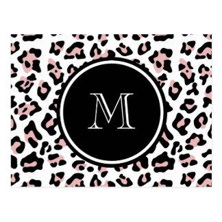 Pink Black Leopard Animal Print with Monogram Postcard
