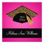 "Pink Black Leopard Cap Graduation Announcement 5.25"" Square Invitation Card"