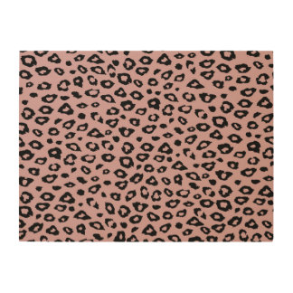 Pink Black Leopard Print Wood Canvases