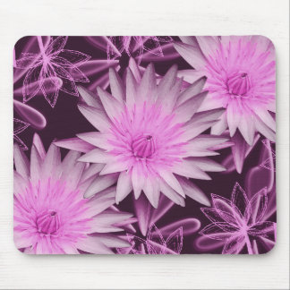 Pink black lilly flower mouse pad