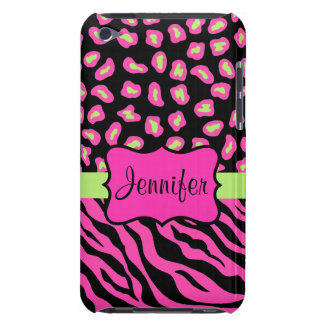 Pink, Black & Lime Green Zebra & Cheetah Skins Barely There iPod Cover