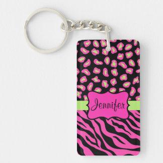 Pink, Black & Lime Green Zebra & Cheetah Skins Double-Sided Rectangular Acrylic Key Ring