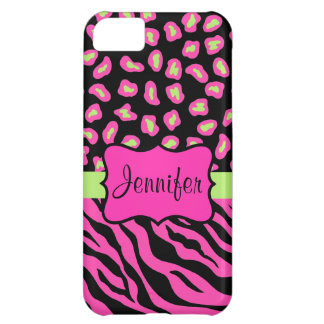 Pink, Black & Lime Green Zebra & Cheetah Skins iPhone 5C Case