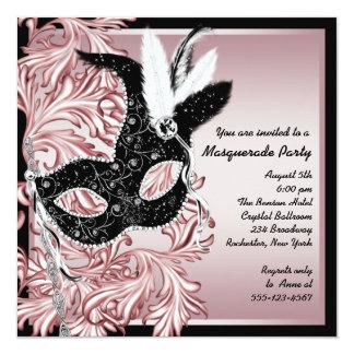 Pink Black Mask Pink Black Masquerade Party 13 Cm X 13 Cm Square Invitation Card