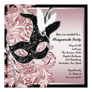 Pink Black Mask Pink Black Masquerade Party Card