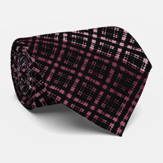 Pink Black Metallic Plaid Modern Netted Ombre Tie