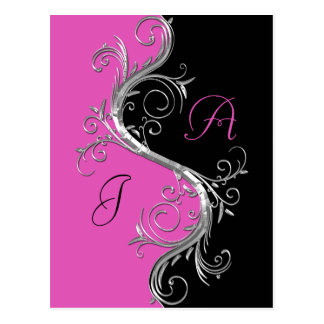 Pink Black Ornate Silver Swirls Save The Date Postcard