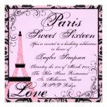 Pink/Black Paris Sweet16 Birthday Invite