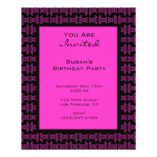 Pink black pattern party 11.5 cm x 14 cm flyer
