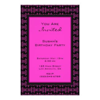 Pink black pattern party 14 cm x 21.5 cm flyer