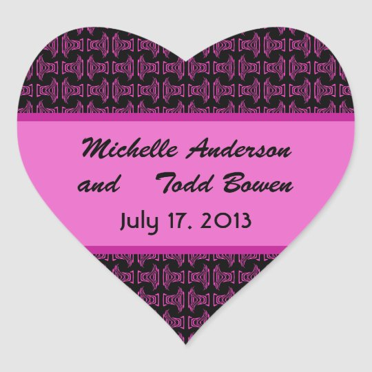 Pink Black Pattern Wedding Heart Sticker
