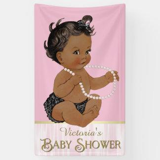 Pink Black Pearl African American Girl Baby Shower