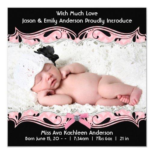 Pink Black Photo Baby Girl Birth Announcement