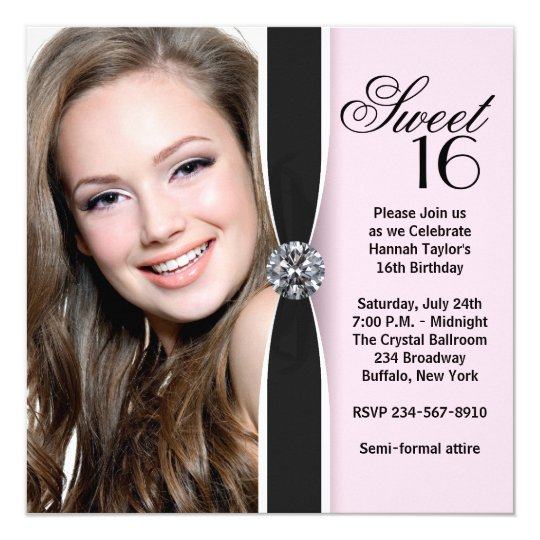 Pink Black Photo Sweet 16 Birthday Party Card