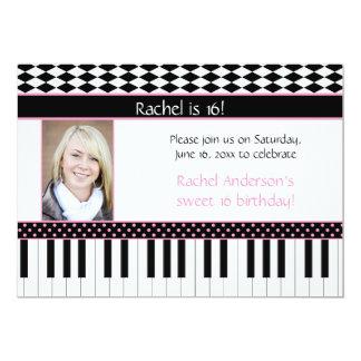 Pink Black Piano Theme Sweet 16 Birthday Card