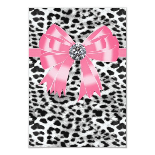 Pink Black Pink Leopard Party RSVP Template 9 Cm X 13 Cm Invitation Card