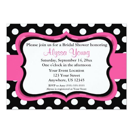 Pink Black Polka Dot Bridal or Baby Shower