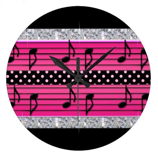 Pink & Black Polka Dot Diamonds & Musical Notes Clocks