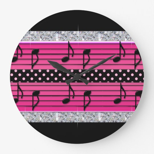 Pink & Black Polka Dot Diamonds & Musical Notes Large Clock