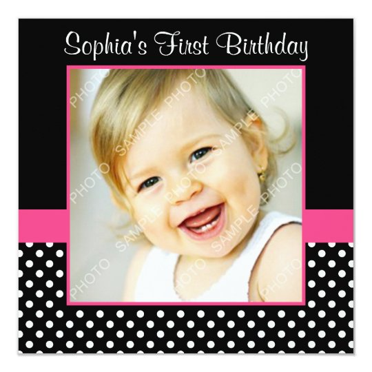 Pink Black Polka Dot Girl Photo 1st Birthday Party Card