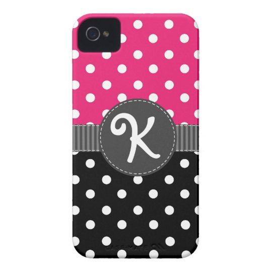 Pink & Black Polka Dot iPhone Case with Ribbon