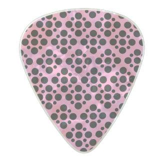 pink black polka dot pattern pearl celluloid guitar pick
