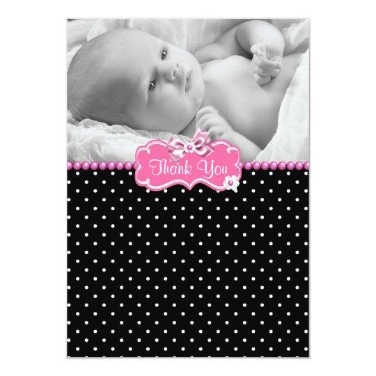 Pink Black Polka Dot Photo Baby Thank You Card