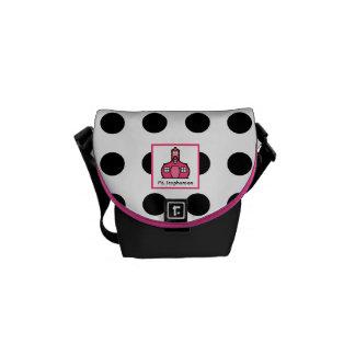 Pink & Black Polka Dot Teacher Mini Messenger Bag