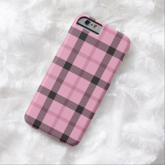 Pink Black Preppy Plaid Barely There iPhone 6 Case