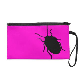 Pink black razberry fashion beetle clutch purse wristlet clutches