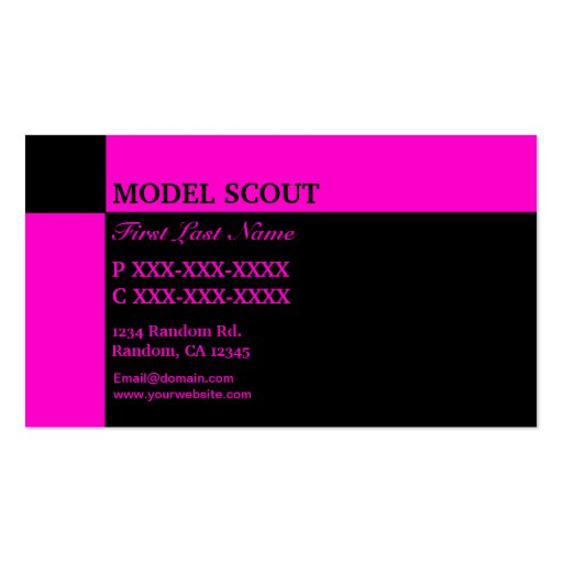 Pink black razberry model scout business cards
